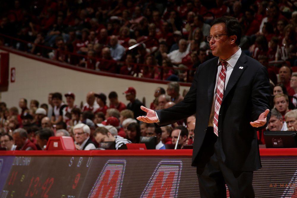 17 November 2013: Indiana head coach Tom Crean as the Indiana Hoosiers played the Stony Brook Seawolves  in a college basketball game  in Bloomington, Ind.