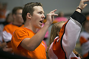 "Fans chant ""RIT"" during an exhibition game against Pursuit of Excellence, a junior team from British Columbia, at RIT's Gene Polisseni Center on Monday, September 29, 2014."