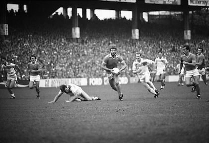 The All Ireland Senior Football Final.1982.19.09.1982.09.19.1982.19th September 1982..The senior final was contested between Offaly and Kerry. Offaly won the title by the narrowest of margins 1.15 to 17 points..Preparing to shoot,Liston heads towards goal chased by O'Connor and other Kerry Forwards..