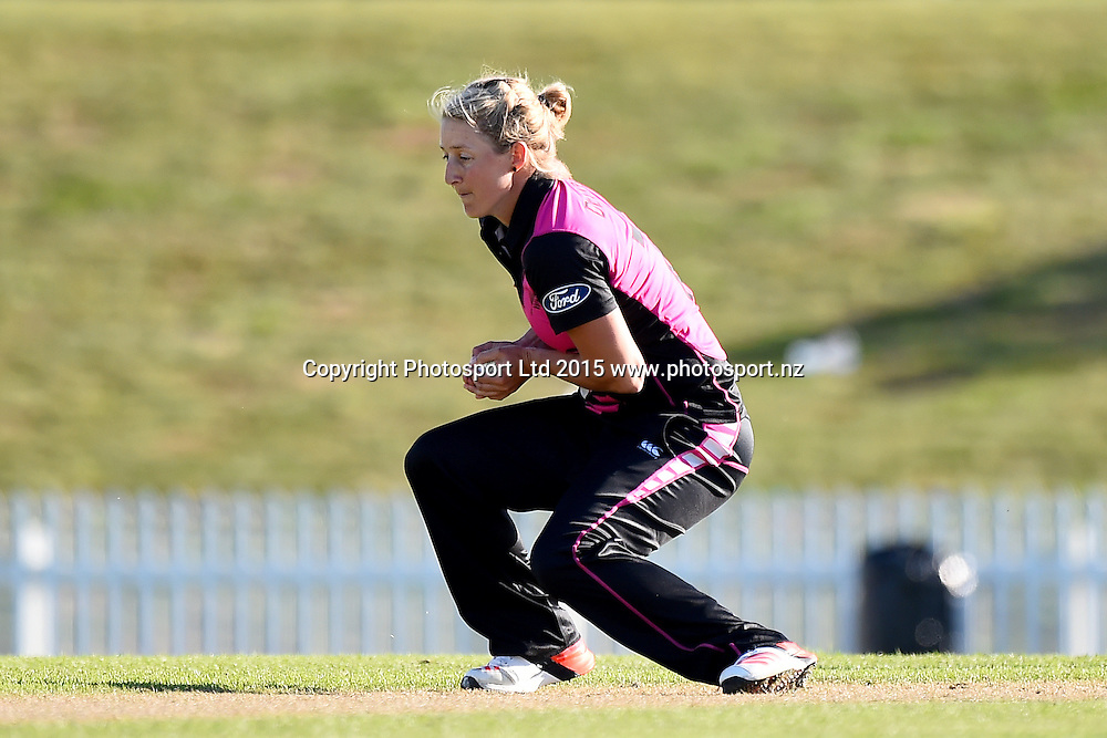 White Ferns player Sophie Devine catches the ball of her own bowling during the 2nd Twenty20 cricket match between White Ferns v Sri Lanka. Saxton Oval, Nelson, New Zealand. Friday 20 November 2015. Copyright Photo: Chris Symes / www.photosport.nz