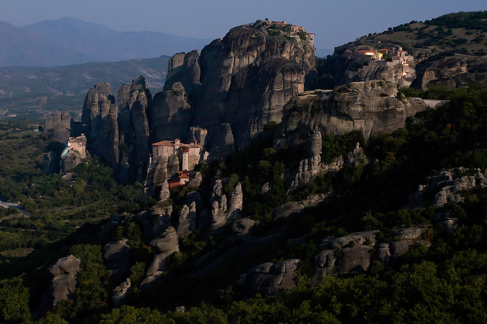 Greece, Meteora, landscape with four monasteries in moonlight