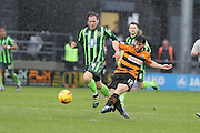 Luke Gambin of Barnet FC gets the pass before Dannie Bulman of AFC Wimbledon intercepts during the Sky Bet League 2 match between Barnet and AFC Wimbledon at Underhill Stadium, London, England on 20 February 2016. Photo by Stuart Butcher.
