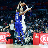 09 December 2017: Washington Wizards forward Otto Porter Jr. (22) takes a jump shot over LA Clippers forward Wesley Johnson (33) during the LA Clippers 113-112 victory over the Washington Wizards, at the Staples Center, Los Angeles, California, USA.