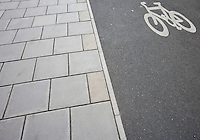 Close-Up of cycle lane on the pavement
