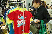 T-shirts promoting vegetarianism for sale at the PETA stand.
