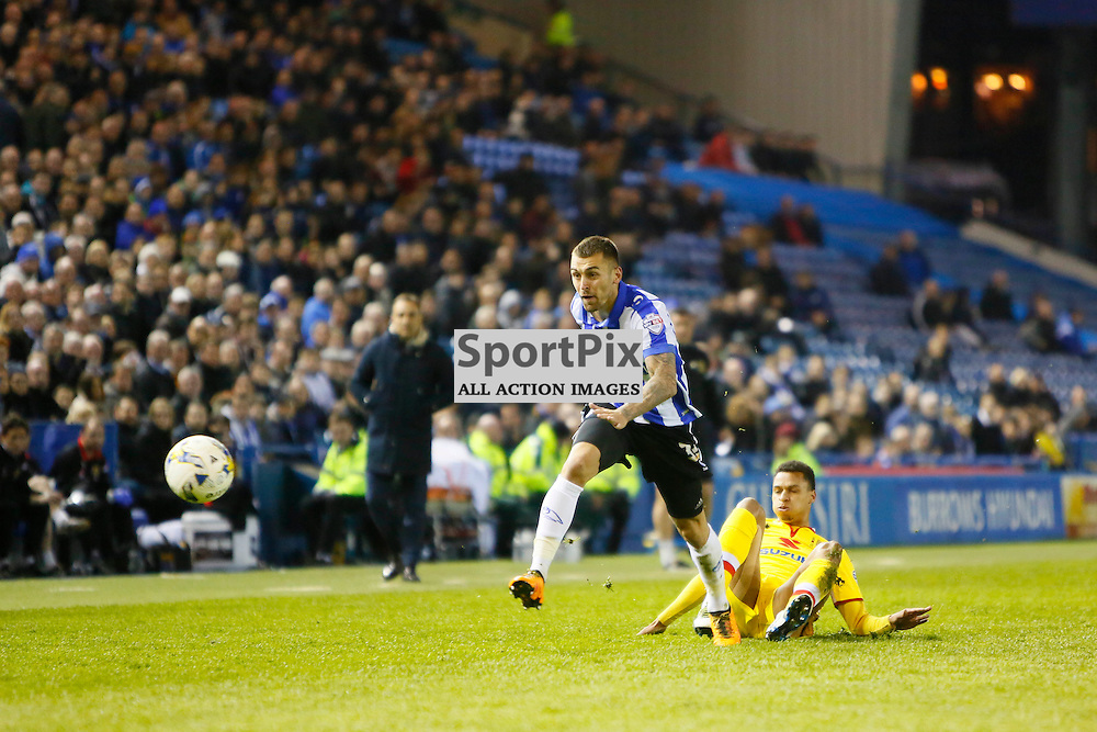 Jack Hunt runs down the wing during Sheffield Wednesday v Milton Keynes Dons, SkyBet Championship, Tuesday 19th April 2016, Hilsborough, Sheffield