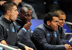 Manchester City's Mario Balotelli sneaks in a  strawberry sweet before the game - Photo mandatory by-line: Joe Meredith/JMP  - Tel: Mobile:07966 386802 03/10/2012 - Manchester City v Borussia Dortmund - SPORT - FOOTBALL - Champions League -  Manchester   - Etihad Stadium -