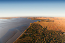 Aerial view of the Fitzroy River as it flows into King Sound near Derby.