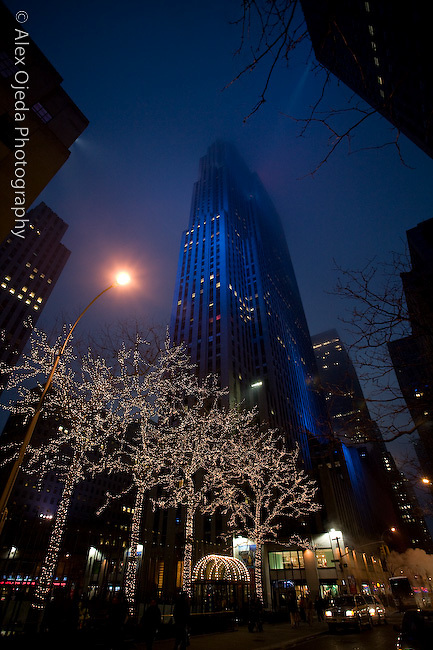 Rockefeller Center at night during Christmas time, New York