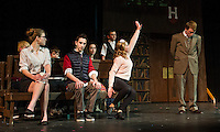 "Emma Tierno as Vivienne, Tyler Browne as Warner and Chelsea Sasserson as Elle Woods with Grandmaster Chad played by Owen Nelson during Gilford Middle School's production of ""Legally Blonde"" on Monday afternoon.   (Karen Bobotas/for the Laconia Daily Sun)"