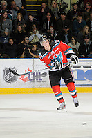 KELOWNA, CANADA, OCTOBER 22:  Damon Severson #7 of the Kelowna Rockets makes a pass as the Victoria Royals visited the Kelowna Rockets on October 22, 2011 at Prospera Place in Kelowna, British Columbia, Canada (Photo by Marissa Baecker/shootthebreeze.ca) *** Local Caption ***Damon Severson;