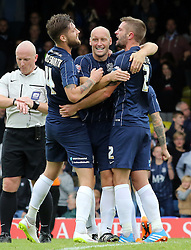 Southend United's Adam Barrett (middle) celebrates the victory at full-time with team-mates - Mandatory byline: Joe Dent/JMP - 07966386802 - 05/09/2015 - FOOTBALL - Roots Hall -Southend,England - Southend United v Peterborough United - Sky Bet League One