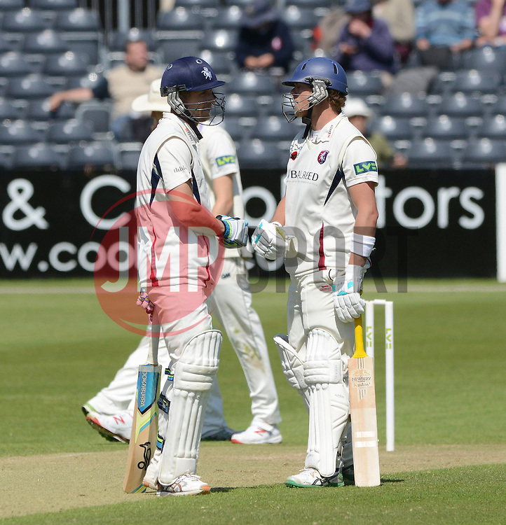 Joe Denly and Sam Northeast of Kent both score half-centurys - Photo mandatory by-line: Dougie Allward/JMP - Mobile: 07966 386802 - 21/05/2015 - SPORT - Cricket - Bristol - County Ground - Gloucestershire v Kent - LV=County Cricket