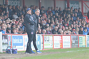 Fleetwood Town Manager Joey Barton looks on during the EFL Sky Bet League 1 match between Accrington Stanley and Fleetwood Town at the Fraser Eagle Stadium, Accrington, England on 30 March 2019.