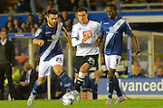Jon Toral, George Thorne and Clayton Donaldson during the Sky Bet Championship match between Birmingham City and Derby County at St Andrews, Birmingham, England on 21 August 2015. Photo by Alan Franklin.