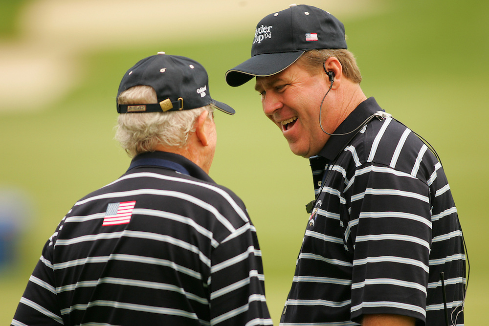 Jack Burke Jr. (l).Hal Sutton (r)..2004 Ryder Cup Matches.Thursday, September16 2004.Oakland Hills CC.Bloomfield Hills, MI..photograph by Darren Carroll