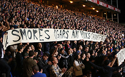 Crystal Palace fans wave a banner to wish unwell former manager Malcolm Allison their good wishes - Photo mandatory by-line: Robin White/JMP - Tel: Mobile: 07966 386802 21/10/2013 - SPORT - FOOTBALL - Selhurst Park - London - Crystal Palace V Fulham - Barclays Premier League