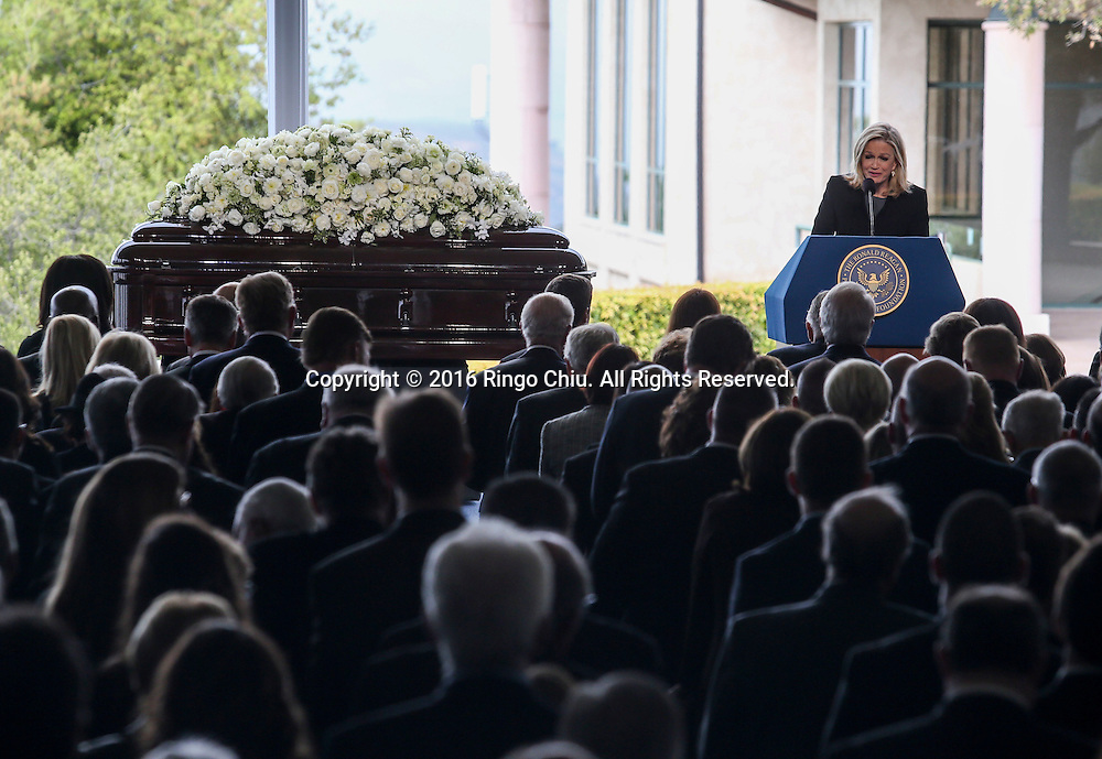 Diane Sawyer speaks during a funeral service for the former first lady Nancy Reagan at the Ronald Reagan Presidential Library and Museum in Simi Valley, California on March 11, 2016. Reagan died of congestive heart failure in her sleep at her Bel Air home Sunday at age 94. A bout 1,000 guests from the world of politics attended the final farewell to Nancy Reagan as the former first lady is eulogized and laid to rest next to her husband at his presidential library.<br />    (Photo by Ringo Chiu/PHOTOFORMULA.com)<br /> <br /> Usage Notes: This content is intended for editorial use only. For other uses, additional clearances may be required.