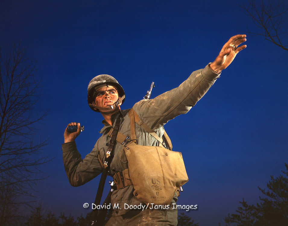 An American soldier throwing a hand grenade, 1942 (WWII)