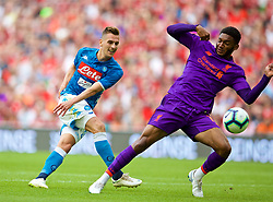 DUBLIN, REPUBLIC OF IRELAND - Saturday, August 4, 2018: Napoli's Marko Rog and Liverpool's Joe Gomez during the preseason friendly match between SSC Napoli and Liverpool FC at Landsdowne Road. (Pic by David Rawcliffe/Propaganda)