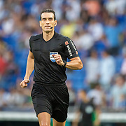 BARCELONA, SPAIN - August 18:   Referee Martinez Munuera during the Espanyol V  Sevilla FC, La Liga regular season match at RCDE Stadium on August 18th 2019 in Barcelona, Spain. (Photo by Tim Clayton/Corbis via Getty Images)