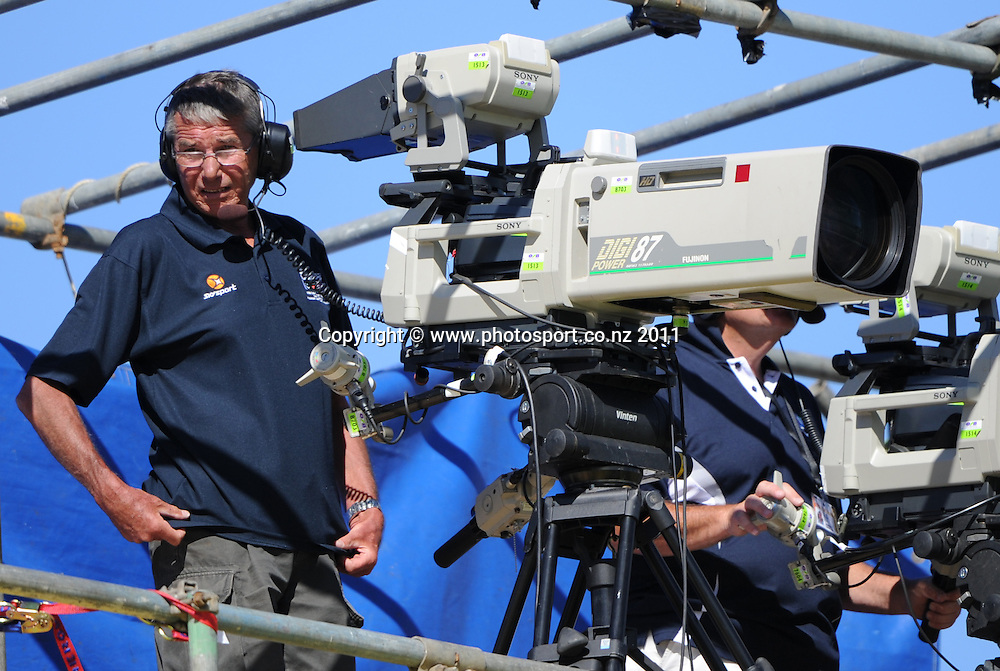 Sky TV camera crew on day 1 of the first cricket test, New Zealand v Zimbabwe at McLean Park. Thursday 26 January 2012. Napier, New Zealand. Photo: Andrew Cornaga/Photosport.co.nz
