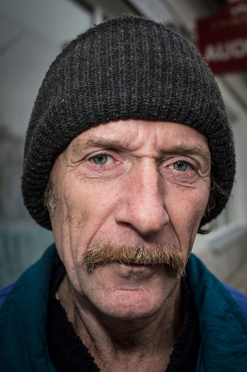 Nikolay inhabitant of Daugavpils, Latvia pictured on the street of the city on 13.11.2014.  Latvian city Daugavpils is the largest city in the European Union inhabited by Russian-speaking population. <br /> <br /> The situation of ethnic Russians, who make up 40% of the population of the Baltic countries, is difficult. Lithuania, Latvia and Estonia after independence granted citizenship only to those who were (or whose ancestors were) the citizens of those countries before the Soviet occupation in 1944. <br /> Due to this only in Latvia about 500 000 Russians are without citizenship, since most of these do not want to learn Latvian, nor adapt to a new country with new rules.<br /> Today, there is a growing tendency to accept passports, offered by the Russian government. Some do it for financial reasons, because pensions in Russia are higher than those paid by the Baltic countries. Others take passports for political reasons. Everyone is talking &lsquo;we are left alone by European Union&rsquo;.<br /> <br /> by Wiktor Dabkowski
