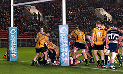 A try from Sam Jeffries of Bristol Rugby in the final seconds of the game  - Mandatory by-line: Paul Knight/JMP - 22/12/2017 - RUGBY - Ashton Gate Stadium - Bristol, England - Bristol Rugby v Cornish Pirates - Greene King IPA Championship