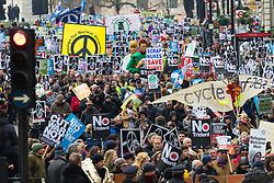 London, February 27th 2016. Piccadilly is choked with placards and banners as thousands protest during CND's march and rally opposing the UK's Trident nuclear weapons programme. <br /> &copy;Paul Davey<br /> FOR LICENCING CONTACT: Paul Davey +44 (0) 7966 016 296 paul@pauldaveycreative.co.uk