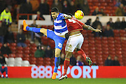 QPR midfielder Massimo Luongo and Nottingham Forest defender Michael Mancienne challenge for the ball in the air during the Sky Bet Championship match between Nottingham Forest and Queens Park Rangers at the City Ground, Nottingham, England on 26 January 2016. Photo by Aaron Lupton.