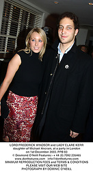 LORD FREDERICK WINDSOR and LADY CLARE KERR daughter of Michael Ancram, at a party in London on 1st December 2003.PPB 83
