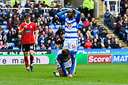 John Swift (10) of Reading and Sone Aluko (14) of Reading look dejected after another goal scoring chance is missed during the EFL Sky Bet Championship match between Reading and Ipswich Town at the Madejski Stadium, Reading, England on 28 April 2018. Picture by Graham Hunt.
