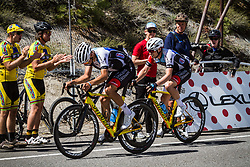 May 18, 2018 - Nevada, U.S - Friday, May 18, 2018.Pro-Continental/Continental Team Hagens Berman Axeon Cycling Team (USA) riders reach Daggett Summitt, 7334 ft, along Kingsbury Grade Rd., Nevada, during the sixth stage of the Amgen Tour of California, which finishes at South Lake Tahoe, California, near Heavenly Ski Resort. (Credit Image: © Tracy Barbutes via ZUMA Wire)