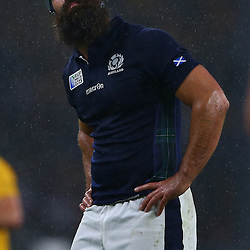 LONDON, ENGLAND - OCTOBER 18: Josh Strauss of Scotland during the Rugby World Cup Quarter Final match between Australia v Scotland at Twickenham Stadium on October 18, 2015 in London, England. (Photo by Steve Haag)