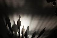 New York. pedestrians shadows in grand central railway station
