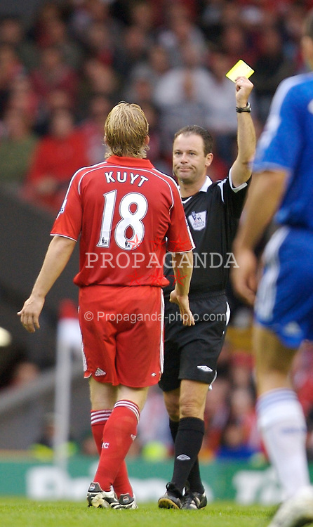 Liverpool, England - Sunday, August 19, 2007: Liverpool's Dirk Kuyt is shown the yellow card by referee Ron Styles against Chelsea during the Premiership match at Anfield. (Photo by David Rawcliffe/Propaganda)