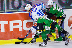 16.11.2012, Hala Tivoli, Ljubljana, SLO, EBEL, HDD Telemach Olimpija Ljubljana vs EC VSV, 21. Runde, in picture Derek Damon (EC VSV, #10) vs Anze Ropret (HDD Telemach Olimpija, #29) and Erik Pance (HDD Telemach Olimpija, #30) during the Erste Bank Icehockey League 21st Round match between HDD Telemach Olimpija Ljubljana and EC VSV at the Hala Tivoli, Ljubljana, Slovenia on 2012/11/16. (Photo By Matic Klansek Velej / Sportida)