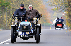 On a freezing morning in Crawley, Pre 1905 four-wheeled cars, tricars and motor tricycles take part in the 77th London to Brighton Veteran Car Run (LBVCR). Representing 24 nations, 572 entries were received for this year's LBVCR, the world's longest running motoring event.