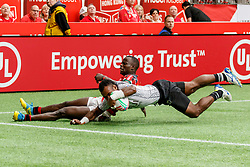 March 9, 2019 - Vancouver, BC, U.S. - VANCOUVER, BC - MARCH 10: Sevuloni Mocenacagi #1 of Fiji scores despite tackle from Kenya player during Game #5- Fiji 7s vs Kenya 7s in Pool B match-up at the Canada Sevens held March 9-10, 2019 at BC Place Stadium in Vancouver, BC, Canada.(Photo by Allan Hamilton/Icon Sportswire) (Credit Image: © Allan Hamilton/Icon SMI via ZUMA Press)