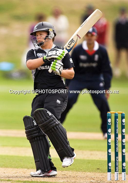 New Zealand's Craig Cachopa during his innings of 64. New Zealand v England, U19 Cricket World Cup SL 7th-8th Place, Village Green, QEII, Christchurch, Tuesday 26 January 2010. Photo : Joseph Johnson/PHOTOSPORT
