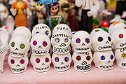 Small sugar skeleton on sale at a stand for celebrating the Day of the Dead festival known in Spanish as Día de Muertos November 2, 2013 in Oaxaca, Mexico.