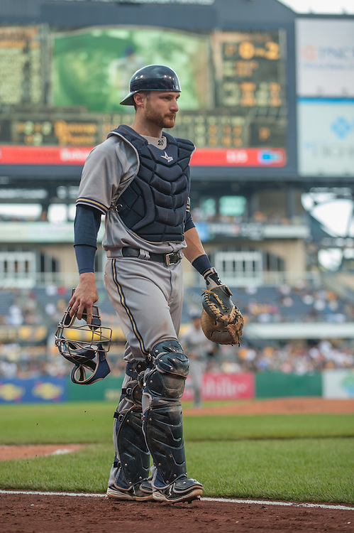 PITTSBURGH, PA - JUNE 08: Jonathan Lucroy #20 of the Milwaukee Brewers looks on during the game against the Pittsburgh Pirates at PNC Park on June 8, 2014 in Pittsburgh, Pennsylvania. (Photo by Rob Tringali) *** Local Caption *** Jonathan Lucroy