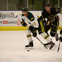5th year defence man Austin Bourhis (8) of the Regina Cougars in action during the Men's Hockey home game on November 11 at Co-operators arena. Credit: Arthur Ward/Arthur Images