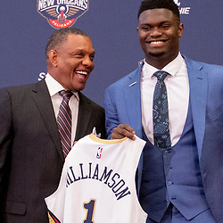 Jun 21, 2019; New Orleans, LA, USA; New Orleans Pelicans head coach Alvin Gentry and Zion Williamson the first overall selection in the NBA Draft during an introductory press conference at the New Orleans Pelicans Training Facility. Mandatory Credit: Derick E. Hingle-USA TODAY Sports
