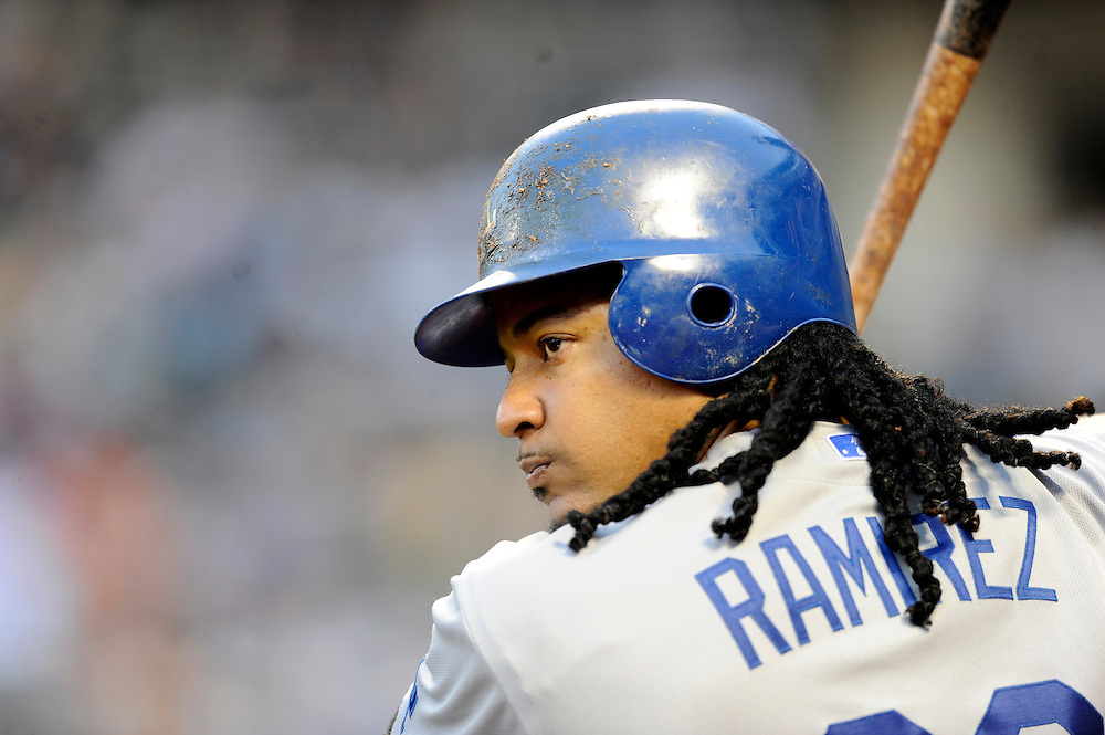 NEW YORK - JULY 08: Manny Ramirez #99 of the Los Angeles Dodgers looks on from the batters box during a game against the New York Mets on July 8, 2009 at Citi Field in the Flushing neighborhood of the Queens borough of New York City. The Mets defeated the Dodgers 5 to 4.(Photo by Rob Tringali) *** Local Caption *** Manny Ramirez