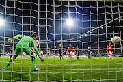 ALKMAAR - 02-04-2016, AZ - PSV, AFAS Stadion, 2-4, AZ speler Jop van der Linden scoort hier de 1-4, doelpunt, PSV keeper Jeroen Zoet