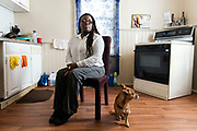 MILWAUKEE, WI – Oct. 31, 2018: Deatre McNeal, 31, at her home in Milwaukee, Wis. Wednesday, Oct. 31, 2018. She will need to start meeting work requirements for food share next month when her son turns 18. (Photo by Lauren Justice for The Washington Post)