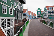 typical Dutch houses facades in the Zaanstreek area are used for the new city center in Zaandam, Netherlands.