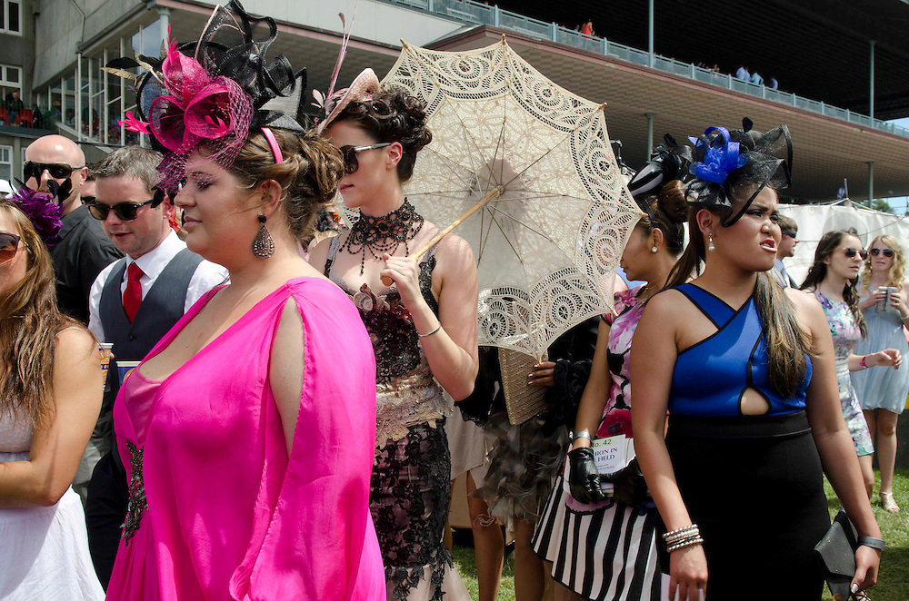 Fashion in the field contestants at the Christchurch Casino 150th New Zealand Cup, Riccarton Racecourse, Christchurch, New Zealand, Saturday, 16 November, 2013.  <br /> Credit:SNPA / David Alexander