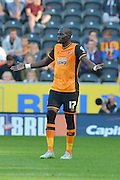 Mohamed Diame in dismay at ref during the Sky Bet Championship match between Hull City and Queens Park Rangers at the KC Stadium, Kingston upon Hull, England on 19 September 2015. Photo by Ian Lyall.